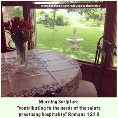 Morning Scripture: contributing to the needs of the saints, practicing hospitality #morningscripture #scripturequote #biblequote #instabible #instaquote #quote #seekgod #godsword #godislove #gospel #jesus #jesussaves #teamjesus #LHBK #youthministry #preach #testify #pray #hospitality #give #faith #love #compassion