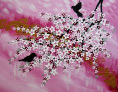 cherry blossom tree painting in pink and white by SheerJoy on Etsy
