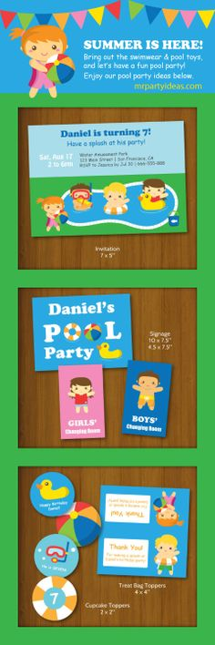Chill out in summer with colourful and fun kids pool party printables! #poolparty #kidspartyinvitations