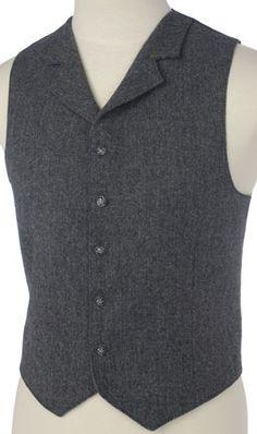 Mens Gray Wool Herringbone With Collar