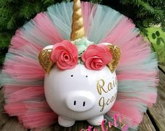 Coral and Seafoam Unicorn Tutu Piggy Bank Unicorn Room Decor Unicorn Room Decor, Unicorn Rooms, Unicorn Gifts, Unicorn Party, Jojo Siwa Birthday, Minnie Birthday, Little Girl Rooms, Girl Gifts, Diy And Crafts