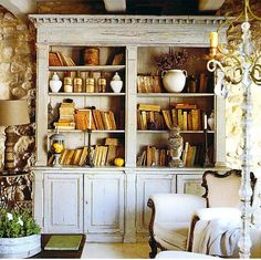 I'd love to replicate this substantial, anchoring piece in our family room.  Built-in bookcases are an obsession of mine.
