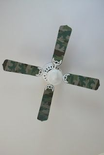 $8 DIY Camo Fan Blade Redo by The Poop Whisperer: Kid's Room Decor For Cheap...by Sarah