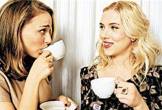 Natalie Portman and Scarlett Johansson enjoy a cup of tea!