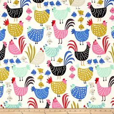 Alexander Henry In the Kitchen Cluck! Cluck! Natural from @fabricdotcom  From the DeLeon Group for Alexander Henry, this cotton print fabric features chickens and their chicks in bright colors that are sure to bring you back to the farm. Perfect for quilting, apparel and home decor accents. Colors include white, black, taupe, pink, red, mustard yellow, blue, mint and green.