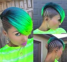 Green blue neon undercut design shaved hair - New Hair Design Short Hair Cuts, Short Hair Styles, Natural Hair Styles, Short Green Hair, Neon Green Hair, Ombré Hair, Hair Dos, Shaved Hair Designs, Edgy Haircuts