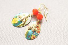 Bumble Bee Earrings Orange and Teal Earrings by MusingTreeStudios, $18.99 #etsy #handmade #jewelry