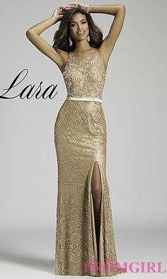 Floor Length Open Back Gown by Lara Designs at PromGirl.com