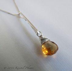Citrine Pendant - silver Eco-Friendly sterling gold-filled necklace bail gift original design orange November Birthstone gift