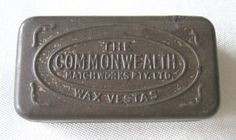 """Commonwealth Wax Vestas"" antique / vintage match tin with hinged lid and…"