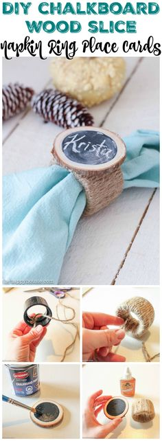 Easy and adorable DIY Chalkboard Wood Slice Napkin Ring Place Cards