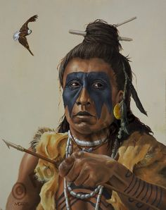 TIMUCUA FISHERMAN (Timucua Tribe). A fisherman examines his bone arrow point prior to shooting at a fish in the tidal waters of northeast Florida. The arrowhead is secured to the shaft with pine resin and further secured by binding with rawhide strips... Florida Lost Tribes Art Project by Theodore Morris