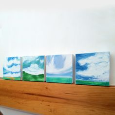 decorating with small art / 4 small landscape paintings / Peppercorn Elvis