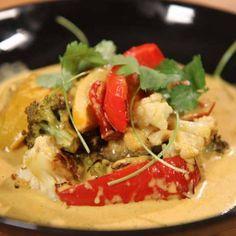 Curry med paprika, och rostad blomkål