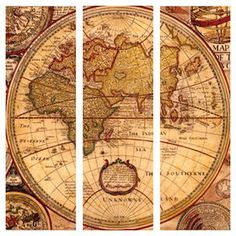 Antique world map canvas art prints set of 3 pinterest canvas picture of 30 x 30 in world map gallery art 3 piece gumiabroncs Images
