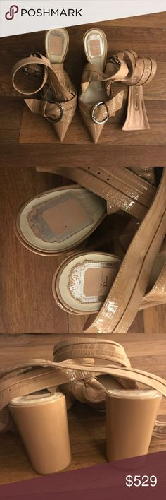 NWT Christian Dior Blush Pink Chunky Lace Up Heels Beautiful blush pink color and really soft leather. One scratch on the end of sole (right shoe) and inside of the tie. Christian Dior Shoes Heels