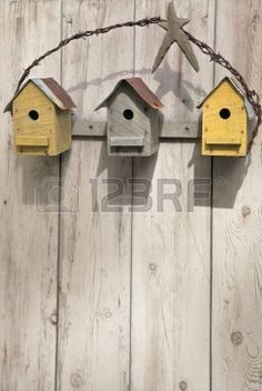 three-rustic-birdhouses-hanging-on-a-wooden-fence - Modern Design Bird House Feeder, Bird Feeder, Birdhouse Designs, Bird Aviary, Bird Cages, Wooden Fence, Fairy Houses, Planter Boxes, Yard Art