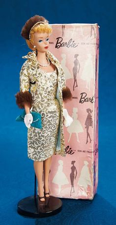 Fabulous 50s and Beyond - Modern Dolls: 5 Early Blonde Ponytail Barbie in Dressed Display Box