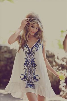dress hippie flowy simply hipster white blue detail