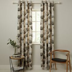 Buy Sanderson Dandelion Clocks Pair Lined Eyelet Curtains, Neutral, x Drop from our Ready Made Curtains & Voiles range at John Lewis & Partners. Dandelion Clock, Decor, Types Of Curtains, Bold Curtains, Curtains, Panel Curtains, Patio Door Curtains, Hanging Curtains, Neutral Curtains
