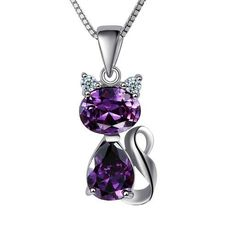925 Sterling Silver Pendant Stone Crystal Cute Cat Pendants Fit Necklaces Chain For Women Party Birthday Trendy Fashion Jewelry Purple Jewelry, Amethyst Jewelry, Amethyst Necklace, Silver Jewellery, Cat Necklace, Pendant Necklace, Copper Necklace, Stone Necklace