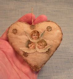 Antique German Cotton Dresden Paper Angel Heart Christmas Ornament 1880's RARE | eBay