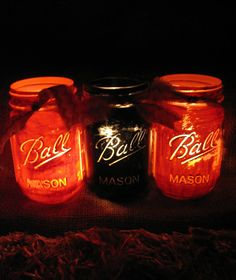 Mason Jars, Decorative Mason Jars, Black & Orange Mason Jars, Rustic Home Decor, Fall Party Decor, Halloween Decorations