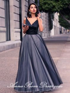 Long Prom Dresses Straps V Neck A Line Floor-length Bowknot Tulle Prom Dress JKL603