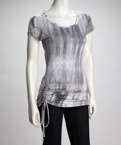 Silver Tie-Dye Cinched Top
