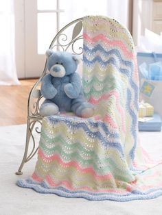 ❤❤❤ RIPPLE BLANKET ❤❤❤ Whimsical gentle ripples of soft shades in this heart warming  pattern - Possible scrap yarn crochet project. - Easy ~ Crochet Baby Blanket / Afghan Free Pattern