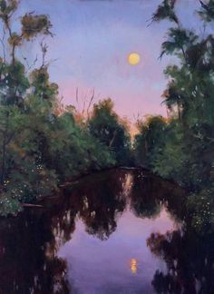 """Moonrise at Dusk, by Takeyce Walter 18x24"""" oil on canvas"""