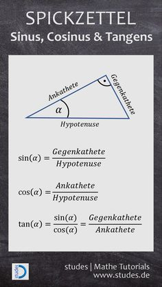 Sinus-Cosinus-Tangens – Food for Healty Fun Math, Math Games, Study Schedule, Physics And Mathematics, Math Courses, Daily Health Tips, Health Advice, Learn German, School Motivation