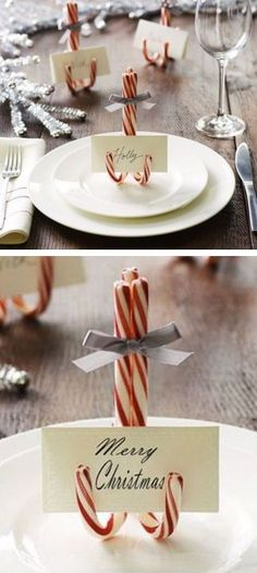 Candy canes as place card holders - great idea for the holidays