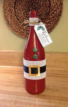 upcycled SANTA hand painted WINE BOTTLE decorated CHRISTMAS