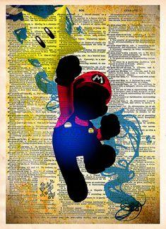 Mario pop art  Super Mario brothers retro style wall by Loft817