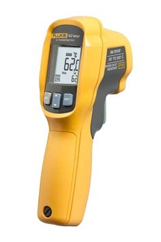 The Fluke 62 MAX Infrared thermometer for non-contact measurement, delivers many of the features of the Fluke 62 MAX+, but features a single laser and 10:1 distance to spot ratio