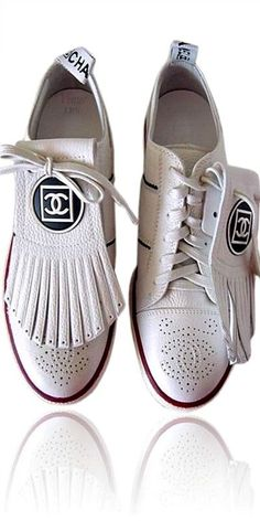 Golf Fashion Stlyle Chanel leather golf or tennis sneakers with removable fringe placket, - Tennis Sneakers, Shoes Sneakers, Footwear Shoes, Black Sneakers, Golf Fashion, Fashion Shoes, Sneakers Fashion, Ladies Fashion, Fashion Dresses