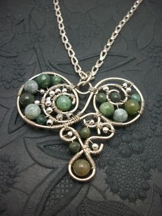 Silver Wire Wrapped Heart Pendant with by BuyThePlaceWithBeads, $20.00