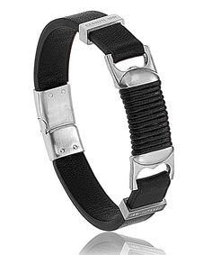 Bracelet cerruti homme cuir noir