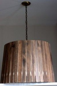 Paint stick lampshade. So many things you could do with paint sticks.