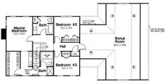 Second Floor Plan of Colonial   Country   Traditional   House Plan 24966