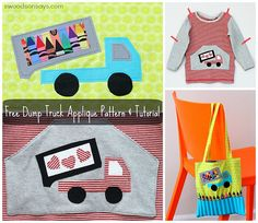 A free dump truck applique and tutorial on how to applique with Wonder Under.