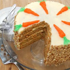 Super moist carrot cake layered with a delicious cream cheese frosting…perfect for Easter!