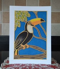 Hand Painted Silk Greetings Card Toucan Design Keepsake Ready To Post