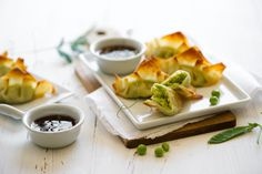 Baked sweet pea pot stickers with ginger soy dip