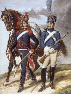 Les cavaliers de la Grande Armée :: Illustration Train d'artillerie et artilleur à cheval ligne.