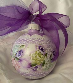Hand Painted Christmas Ornament Cottage Chic Rose Hydrangea Shabby Lace HP