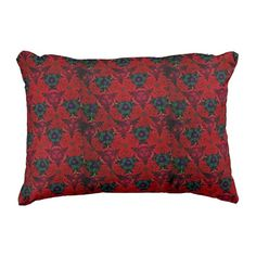 #Kaleidoscope #Flowered+pillow in Red #Outdoorpillow #plow #AccentPillow #Zazzle #sandyspidergifts