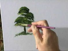 VIDEO How to make really easy and fast trees with a fan brush. Art lesson, painting, acrylicc painting