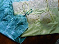 2 Vintage 1960s Green Chartreuse Tie Dye Slips by FabulousVintageHats#janiesofmiami#slips#upcycled#tiedye#chartreuse